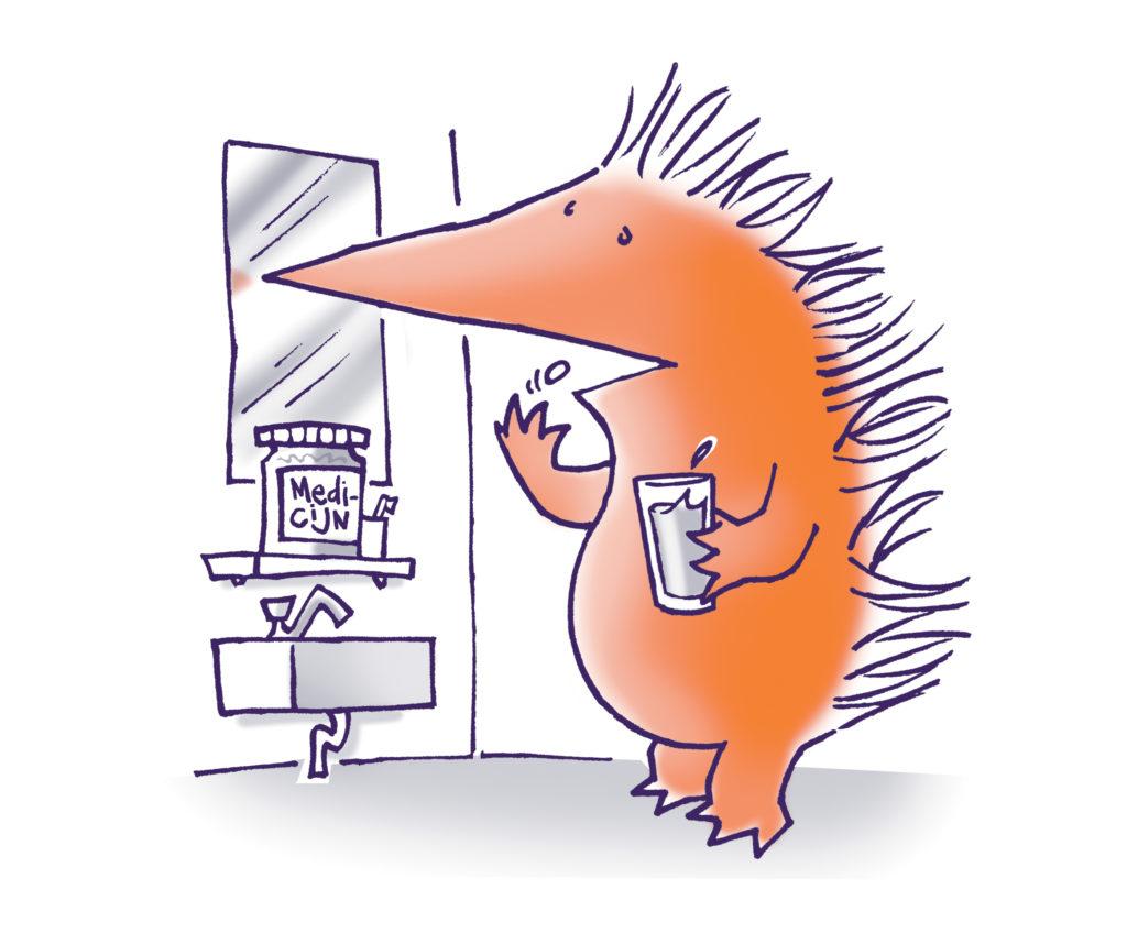 Egel neemt medicijnen