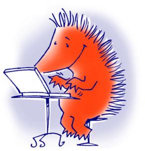 egel met laptop