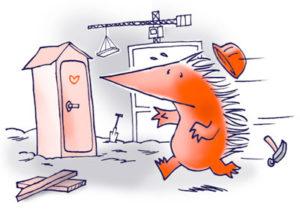 egel rent naar wc